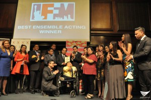 "INCinema's ""Walang Take Two"" (No Second Take) bags the ""Best Ensemble Acting"" award at the International Film Festival Manhattan 2016. ( Eagle News Service)"