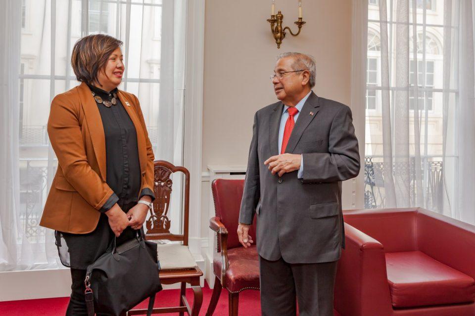 EBC London correspondent Vee Sison talks to Philippine Ambassador Anton Lagdameo in the Philippine Embassy office in London.