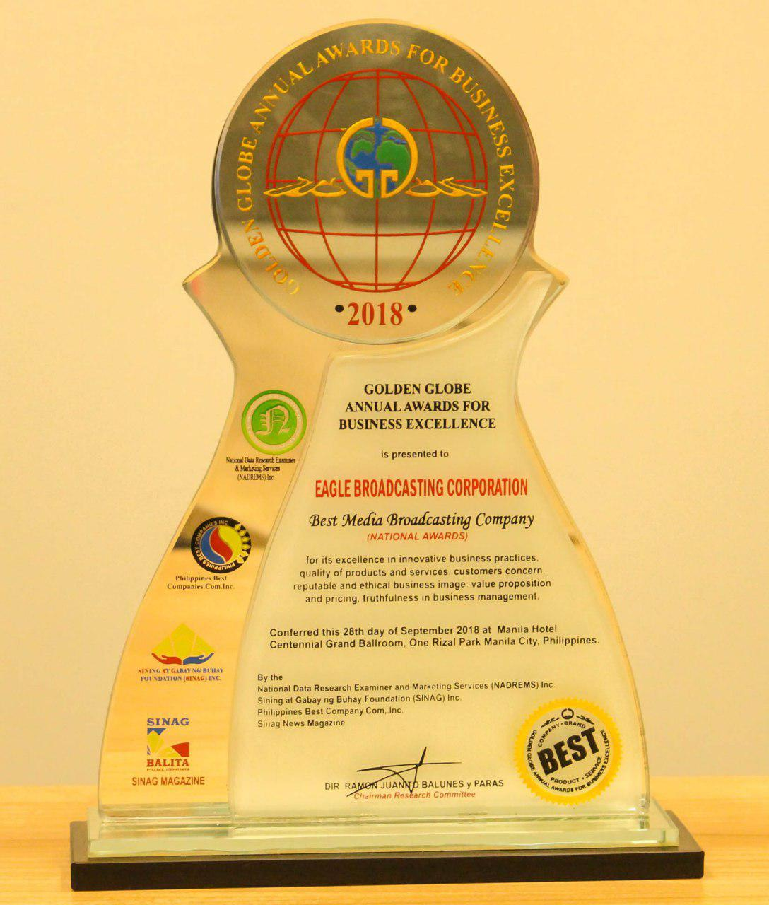Ebc Named As Best Media Broadcasting Company For 2018 By Phl Golden Globe Awards For Business Excellence