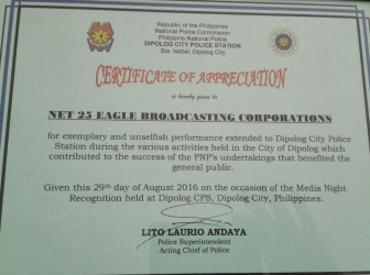 NET 25-EBC receives certificate of appreciation in Dipolog City